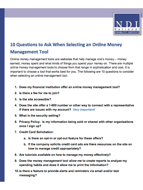 Resource | Ten Questions to Ask When Selecting an Online Money